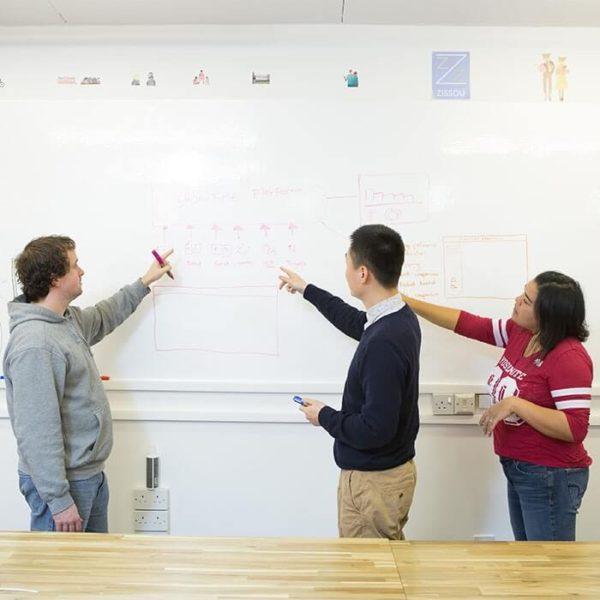 burzliwa dyskusja przy ścianie z farbą suchościeralną
